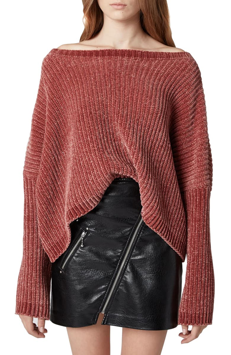 BLANKNYC Chenille Off the Shoulder Sweater, Main, color, 650