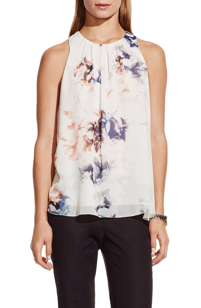 VINCE CAMUTO 'Floral Breeze' Print Pleat Neck Blouse, Main, color, 103