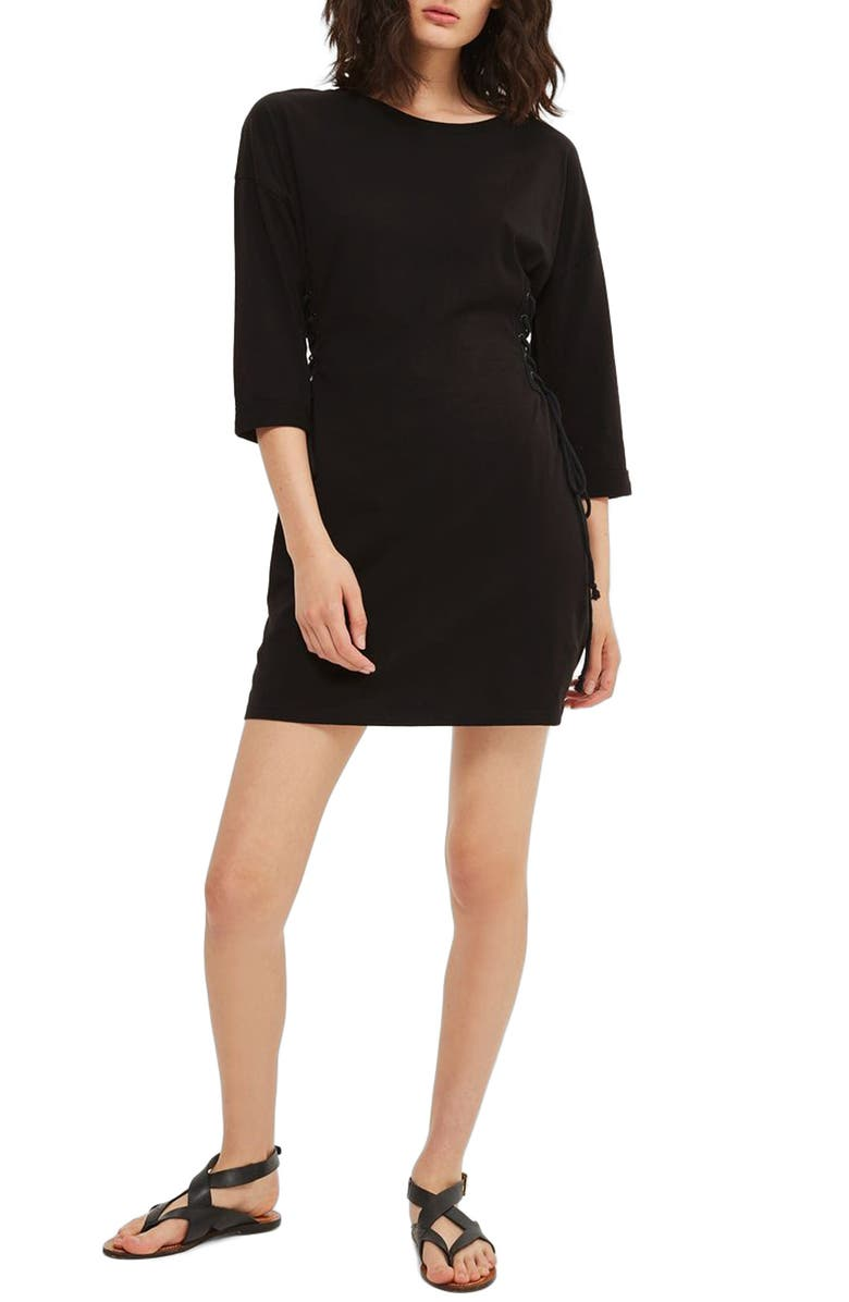 TOPSHOP Lace-Up Side Tunic Dress, Main, color, 001