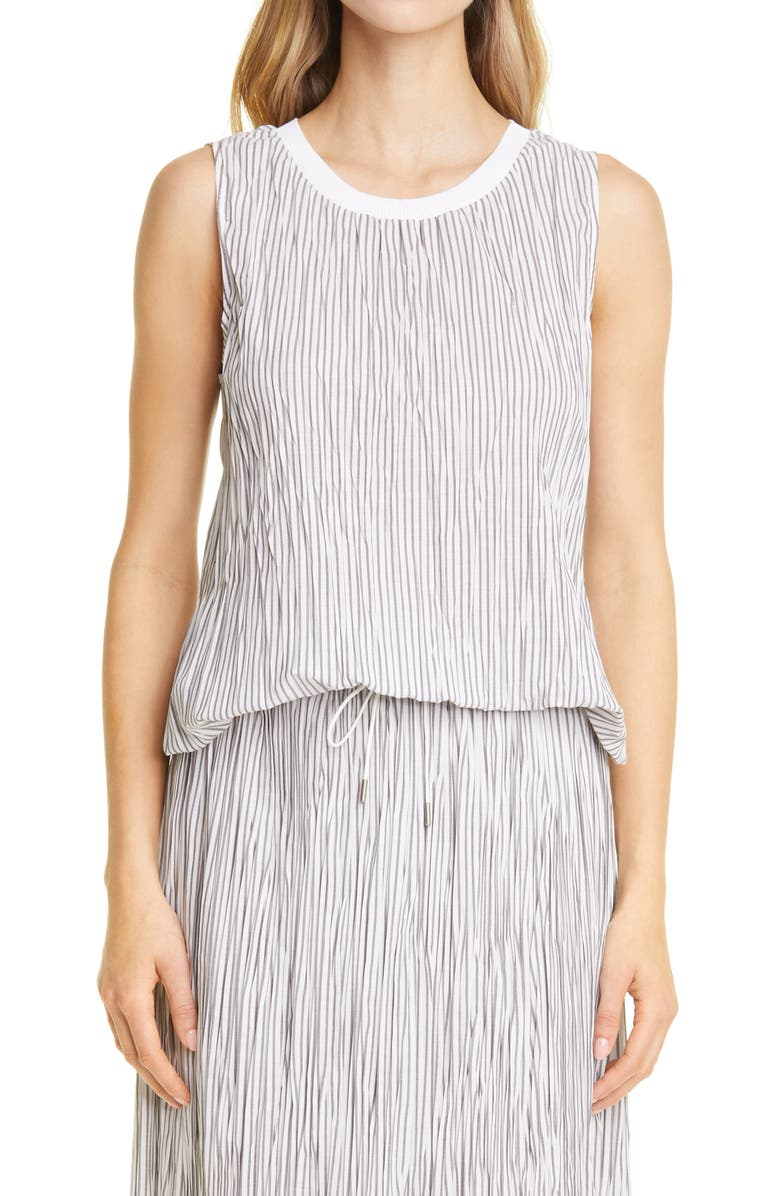 FABIANA FILIPPI Plissé Tank, Main, color, WHITE/ GREY
