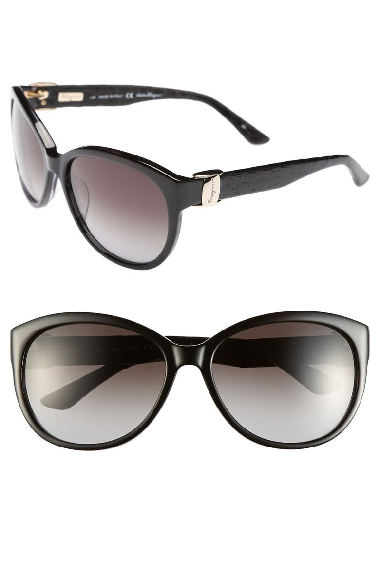 SALVATORE FERRAGAMO 'Vara' 59mm Sunglasses, Main, color, 001
