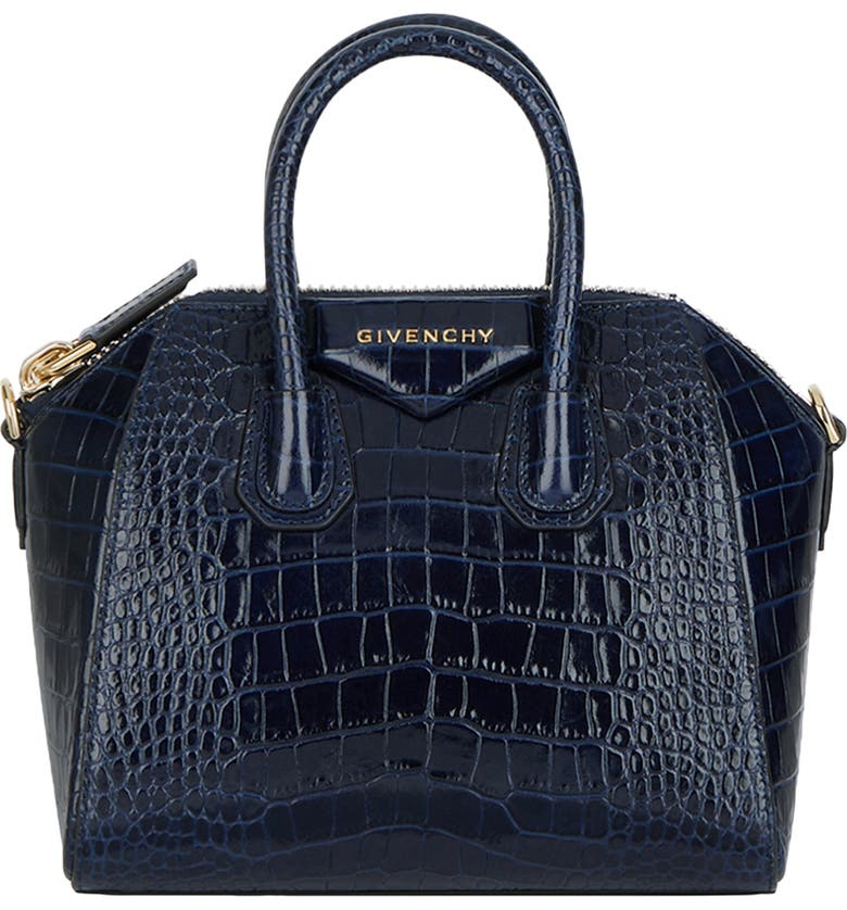 GIVENCHY Mini Antigona Croc Embossed Calfskin Leather Satchel, Main, color, NAVY