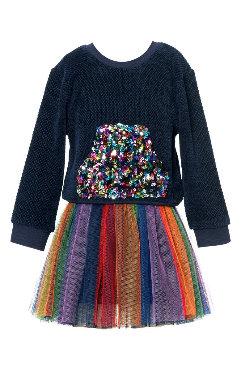TRULY ME Kids' Rainbow Sequin Two-Piece Dress, Main, color, NAVY MULTI