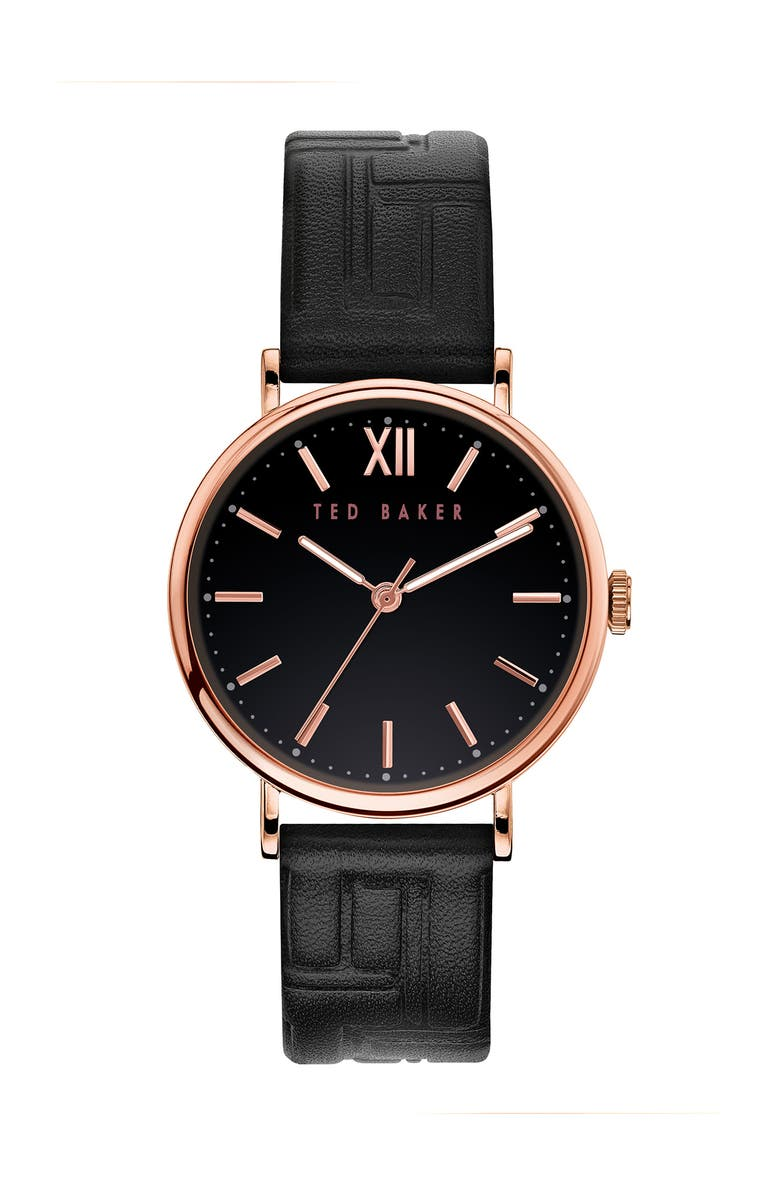 TED BAKER LONDON Women's Phylipa Leather Strap Watch, 37mm, Main, color, GOLD/ BLACK/ BLACK