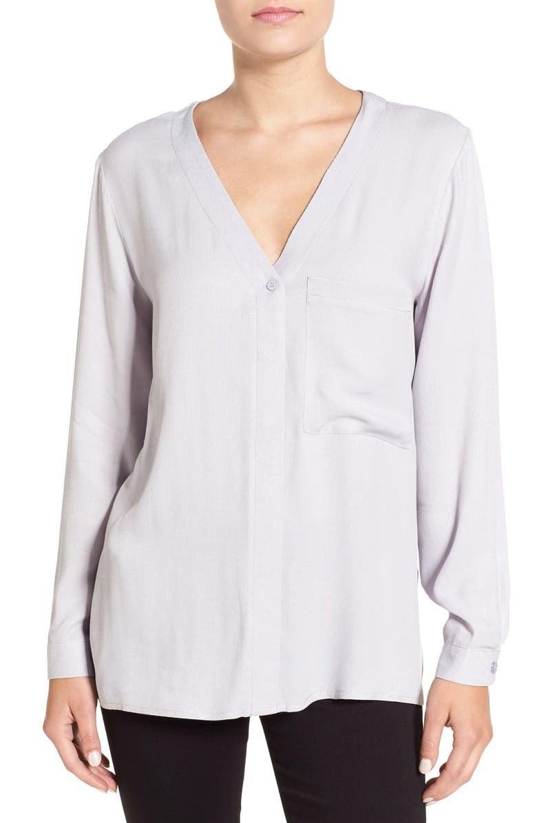 TOPSHOP Wrap Back Long Sleeve Blouse, Main, color, 021
