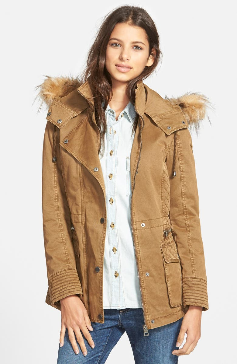 GUESS Hooded Cotton Field Jacket with Faux Fur Trim, Main, color, 250