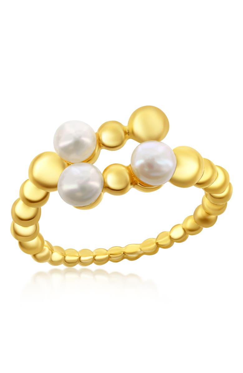 SIMONA Gold Vermeil Freshwater Pearl Beaded Bypass Ring, Main, color, GOLD