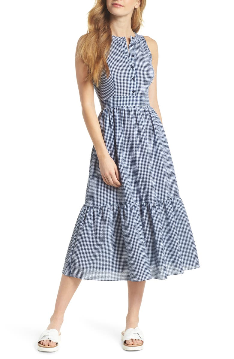 GAL MEETS GLAM COLLECTION Ardith Gingham Fit & Flare Midi Dress, Main, color, BLUE/ WHITE