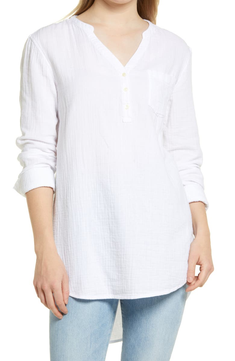 CASLON<SUP>®</SUP> Women's Long Sleeve High/Low Tunic, Main, color, WHITE
