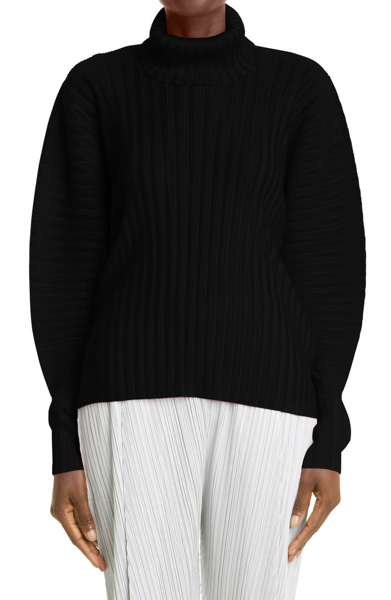 PLEATS PLEASE ISSEY MIYAKE December Pleated Turtleneck Top, Main, color, Black