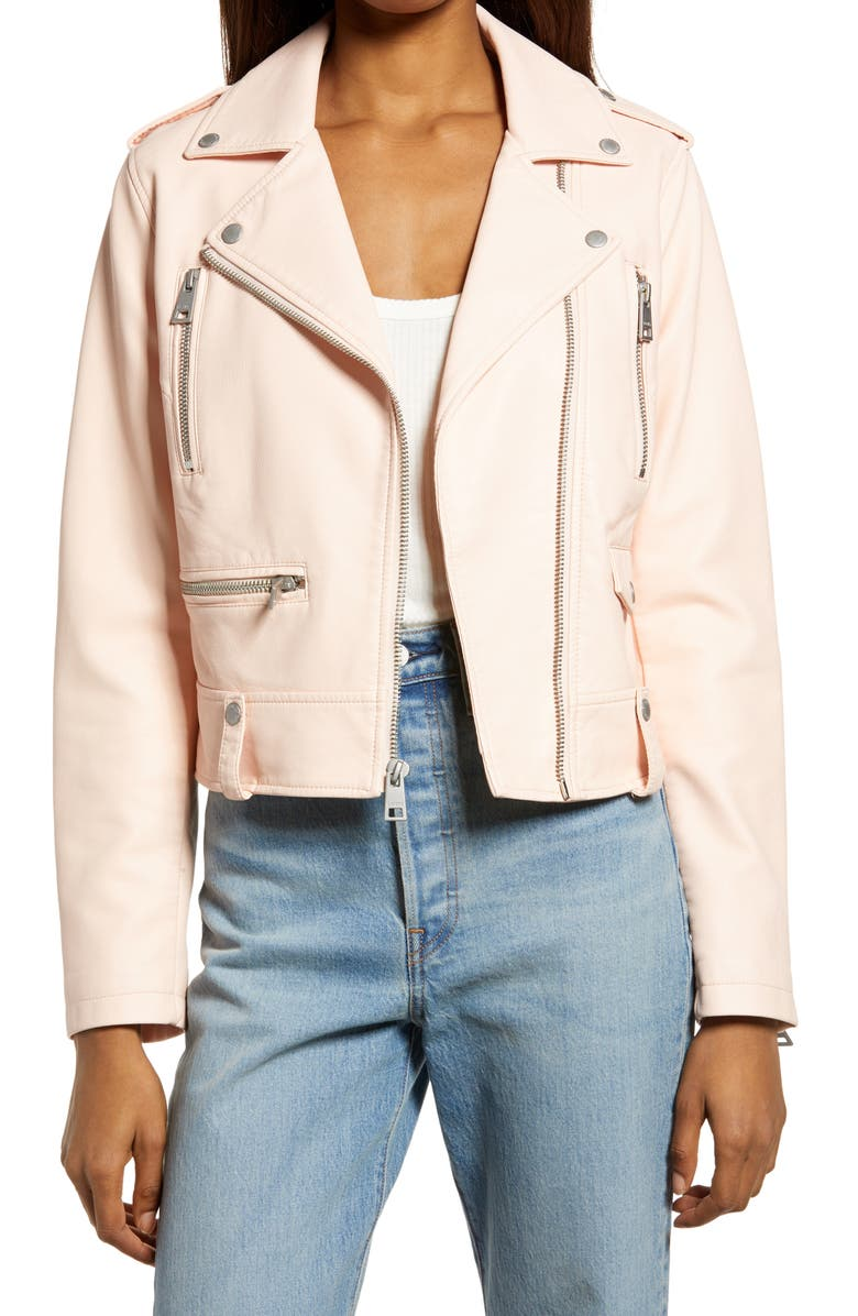 LEVI'S<SUP>®</SUP> Faux Leather Moto Jacket, Main, color, SCALLOP SHELL
