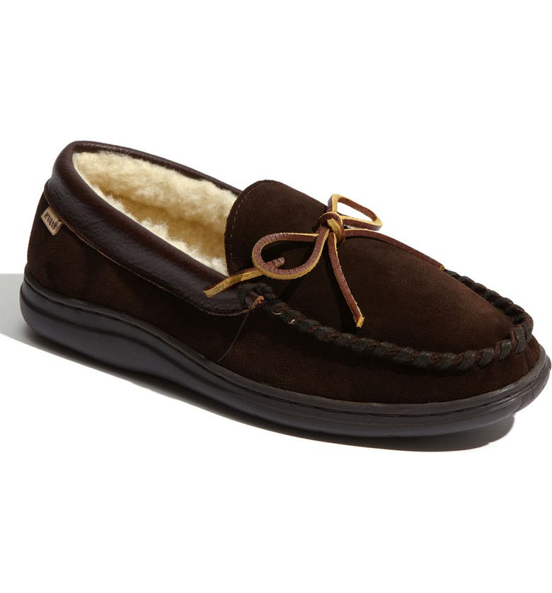 L.B. EVANS 'Atlin' Moccasin, Main, color, CHOCOLATE/ PILE