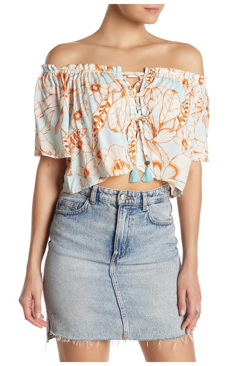 MAAJI Now And Later Floral Lace-Up Crop Top, Main, color, MULTICOLOR