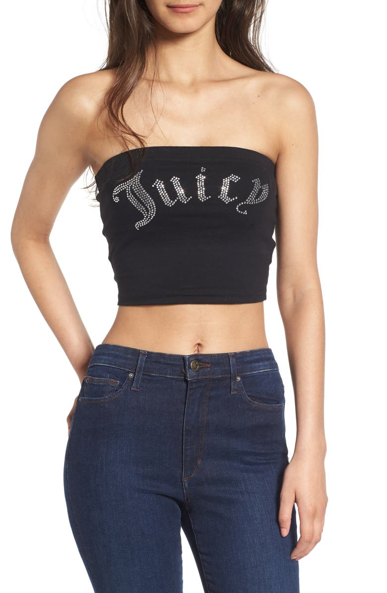 JUICY COUTURE Gothic Crystals Jersey Tube Top, Main, color, 009