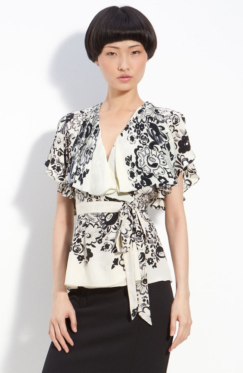 TRACY REESE Floral Silk Surplice Blouse, Main, color, BLACK/ PEARL FLORAL