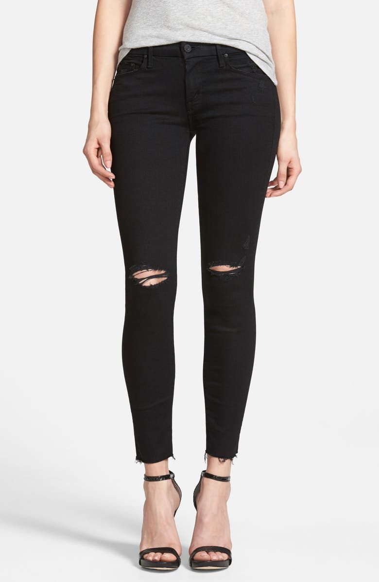 MOTHER The Looker Frayed Ankle Skinny Jeans, Main, color, 001