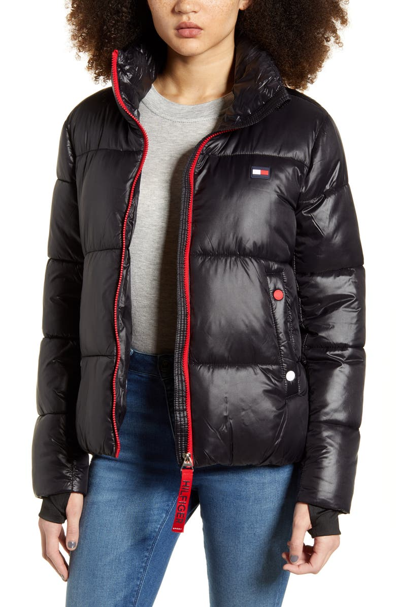 TOMMY SPORT Crop Puffer Coat, Main, color, 001