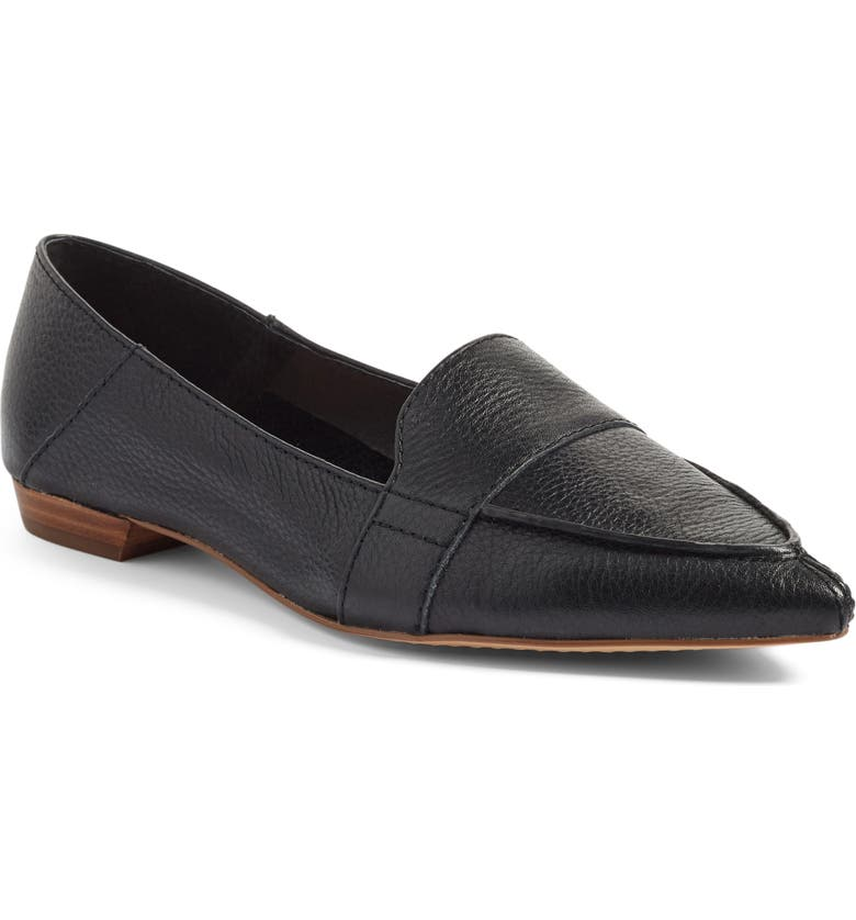 VINCE CAMUTO Maita Pointy Toe Flat, Main, color, BLACK LEATHER