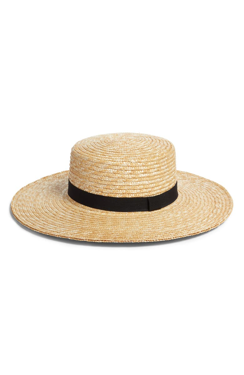SOMETHING NAVY Straw Boater Hat, Main, color, 235