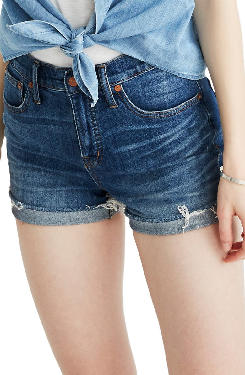 MADEWELL High Rise Cuffed Denim Shorts, Main, color, GLEN OAKS