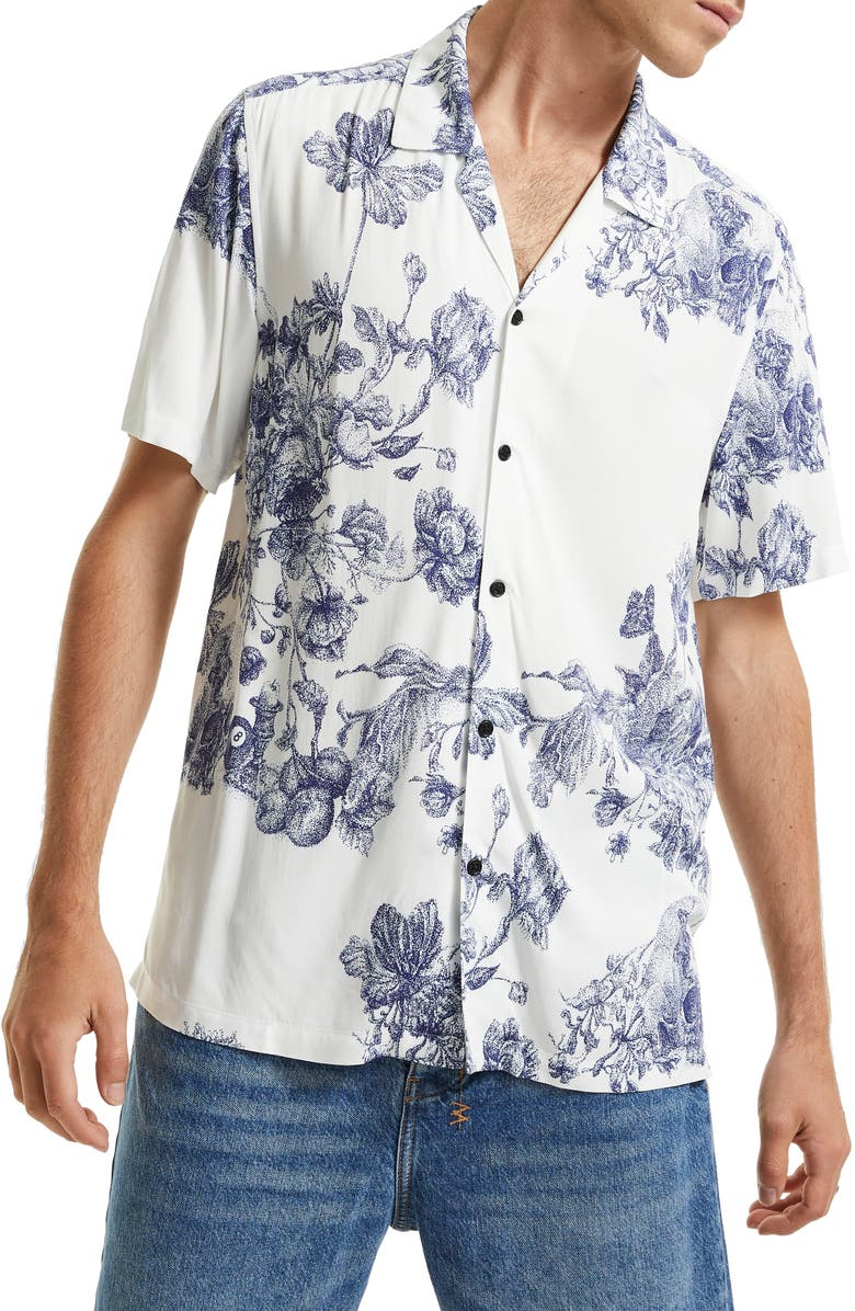KSUBI Master Floral Short Sleeve Button-Up Resort Shirt, Main, color, WHITE