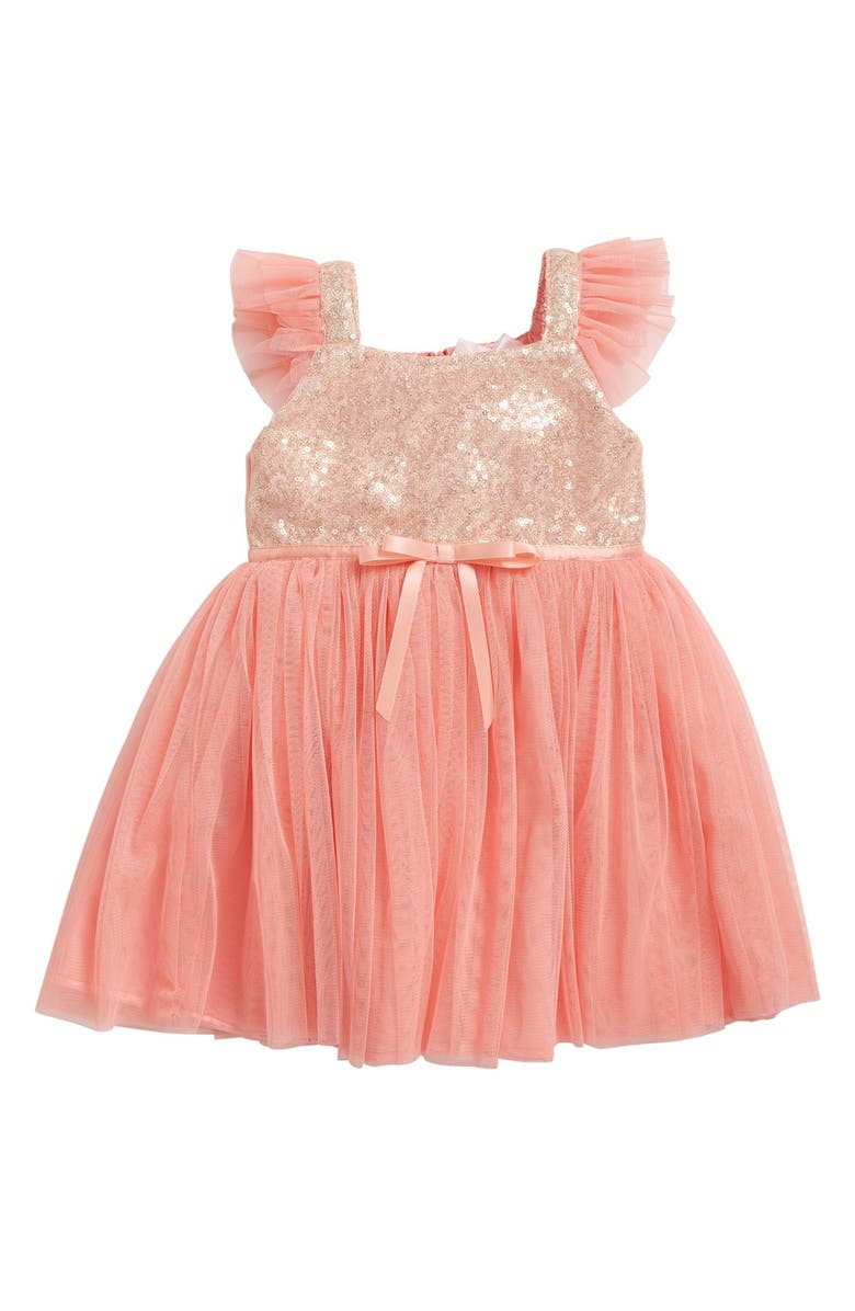 POPATU Sequin Bodice Tulle Dress, Main, color, PEACH
