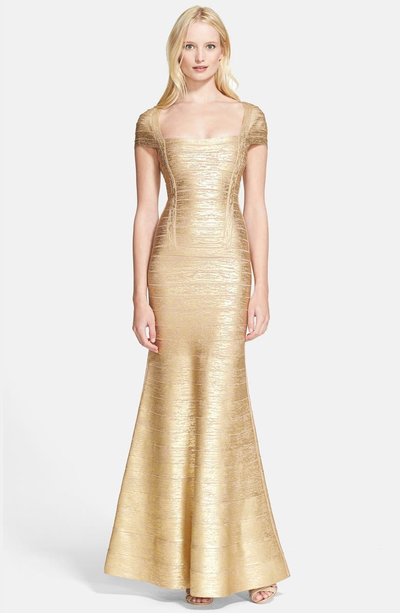 HERVE LEGER Foiled Flared Bandage Gown, Main, color, GOLD CHAMPAGNE