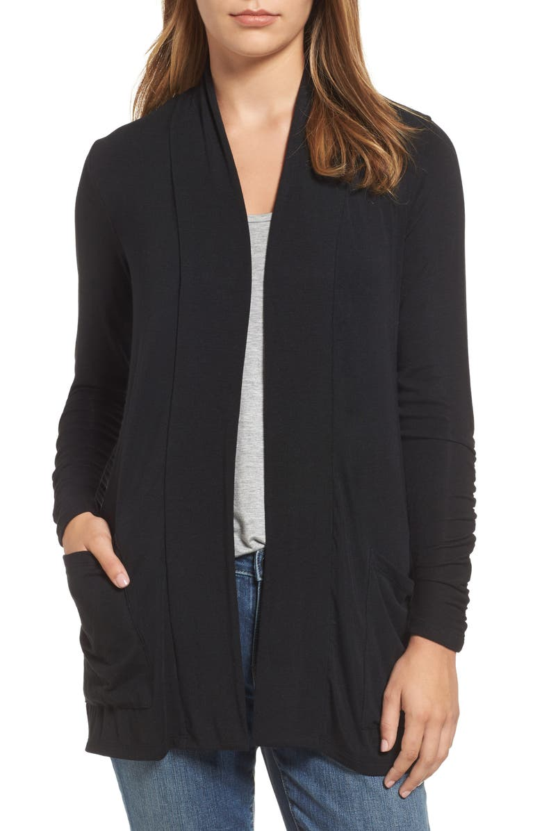 BOBEAU Ruched Sleeve Cardigan, Main, color, 001