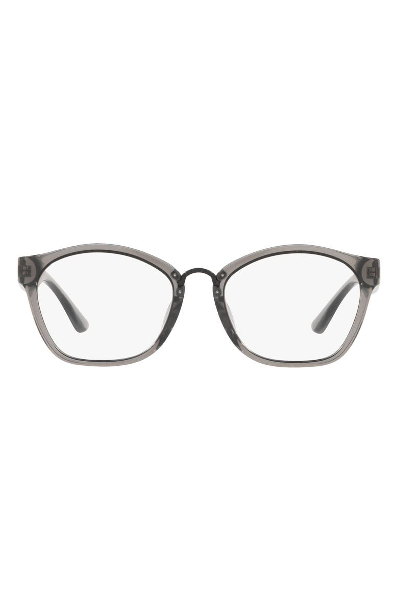 TORY BURCH 52mm Butterfly Optical Glasses, Main, color, TRANSPARENT GREY