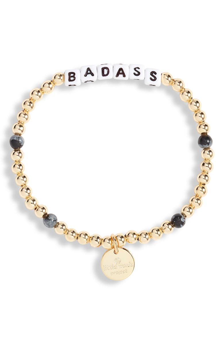 LITTLE WORDS PROJECT Badass Beaded Stretch Bracelet, Main, color, Gold