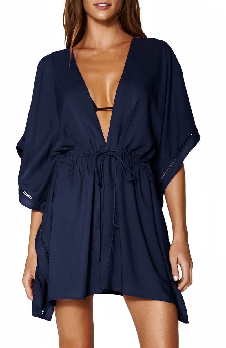 VIX SWIMWEAR Embroidered Cover-Up Tunic, Main, color, NAVY