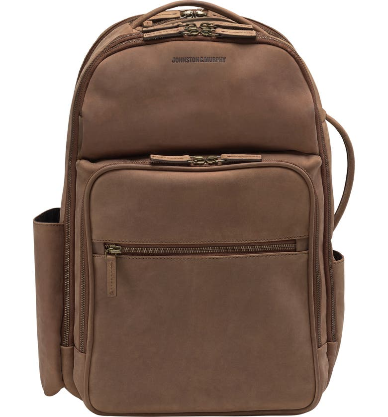 JOHNSTON & MURPHY Leather Backpack, Main, color, WHISKEY