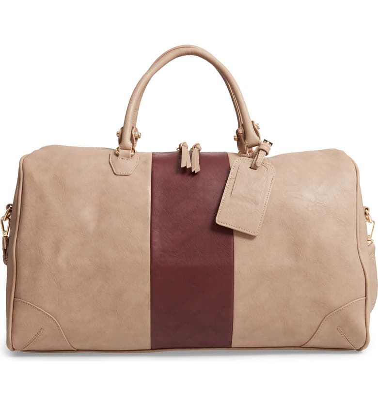 SOLE SOCIETY 'Robin' Faux Leather Weekend Bag, Main, color, TAUPE