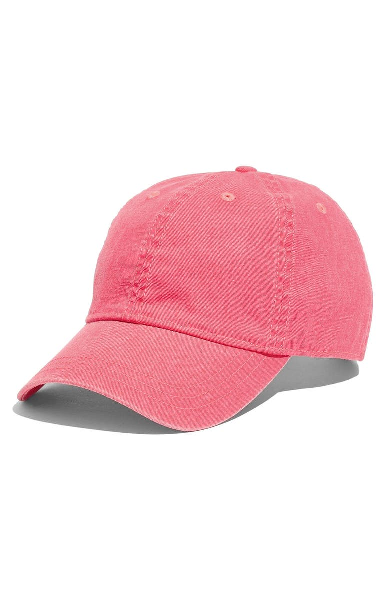 MADEWELL Faded Neon Canvas Baseball Cap, Main, color, ELECTRIC PINK