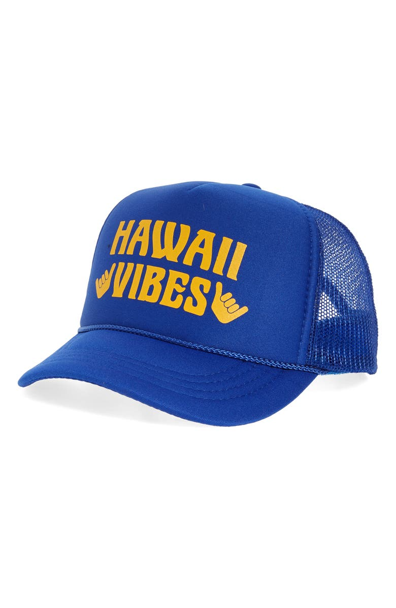 TINY WHALES Hawaii Vibes Trucker Hat, Main, color, ROYAL