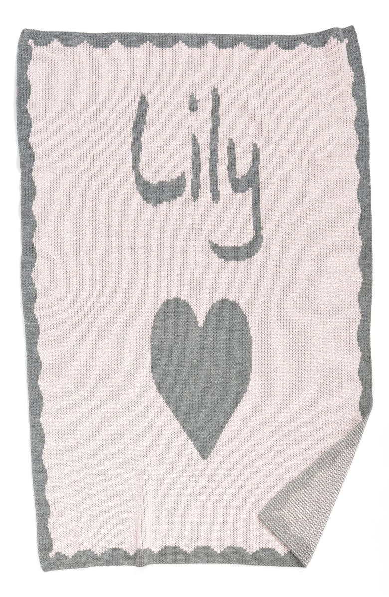 BUTTERSCOTCH BLANKEES 'Heart' Personalized Crib Blanket, Main, color, Pink