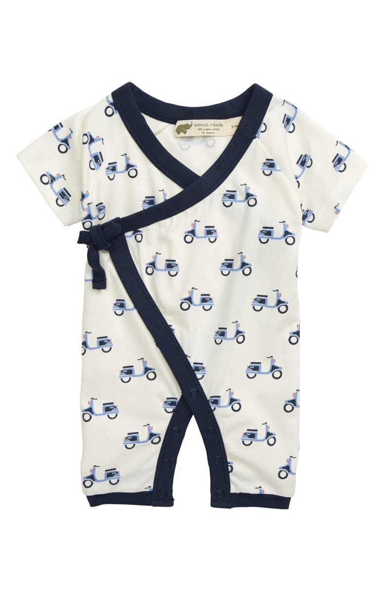 MONICA + ANDY Sweet Baby Scooter Romper, Main, color, 100