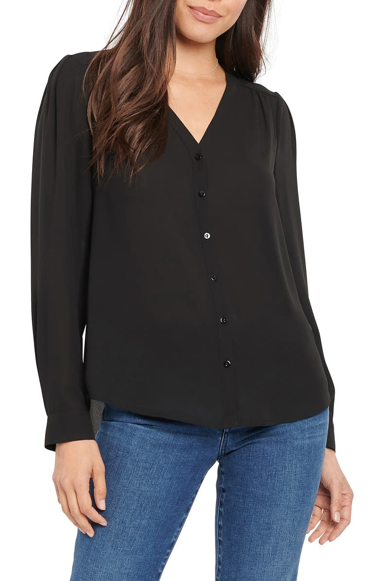 NYDJ Smock V-Neck Blouse, Main, color, JET BLACK