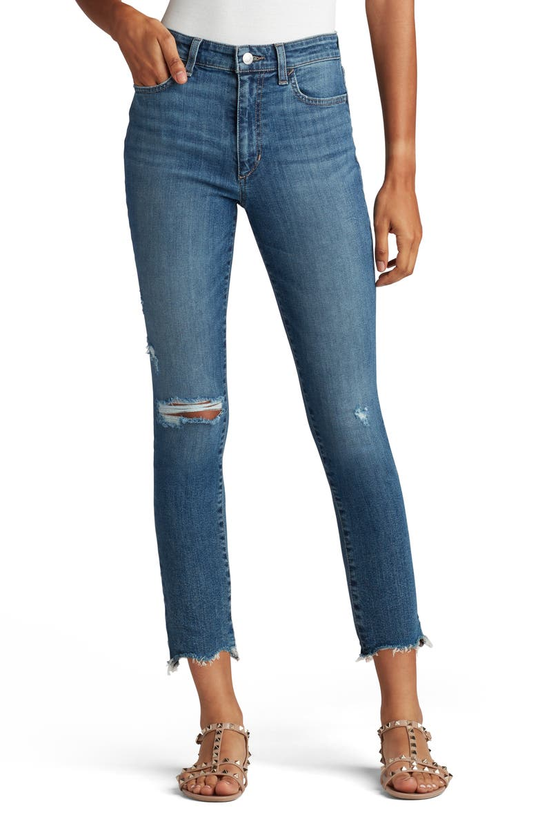 JOES Mid Rise Straight Jeans With Shark Bite Hems, Main, color, CRANBROOK