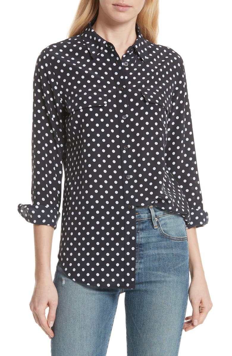 EQUIPMENT Slim Signature Polka Dot Silk Shirt, Main, color, ECLIPSE/ BRIGHT WHITE
