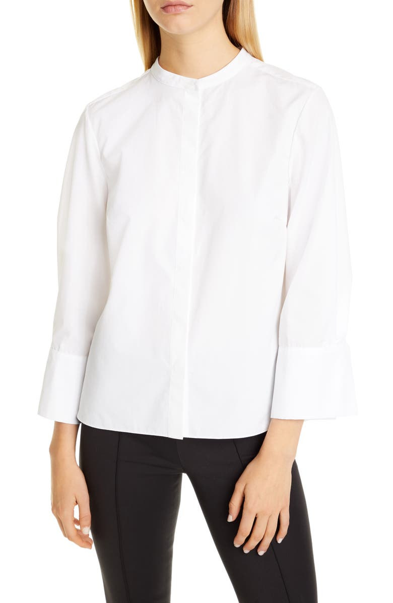 PARTOW Bell Poplin Blouse, Main, color, 100