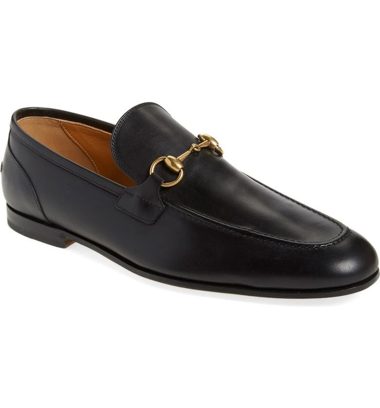 GUCCI Jordaan Horsebit Loafer, Main, color, BLACK LEATHER