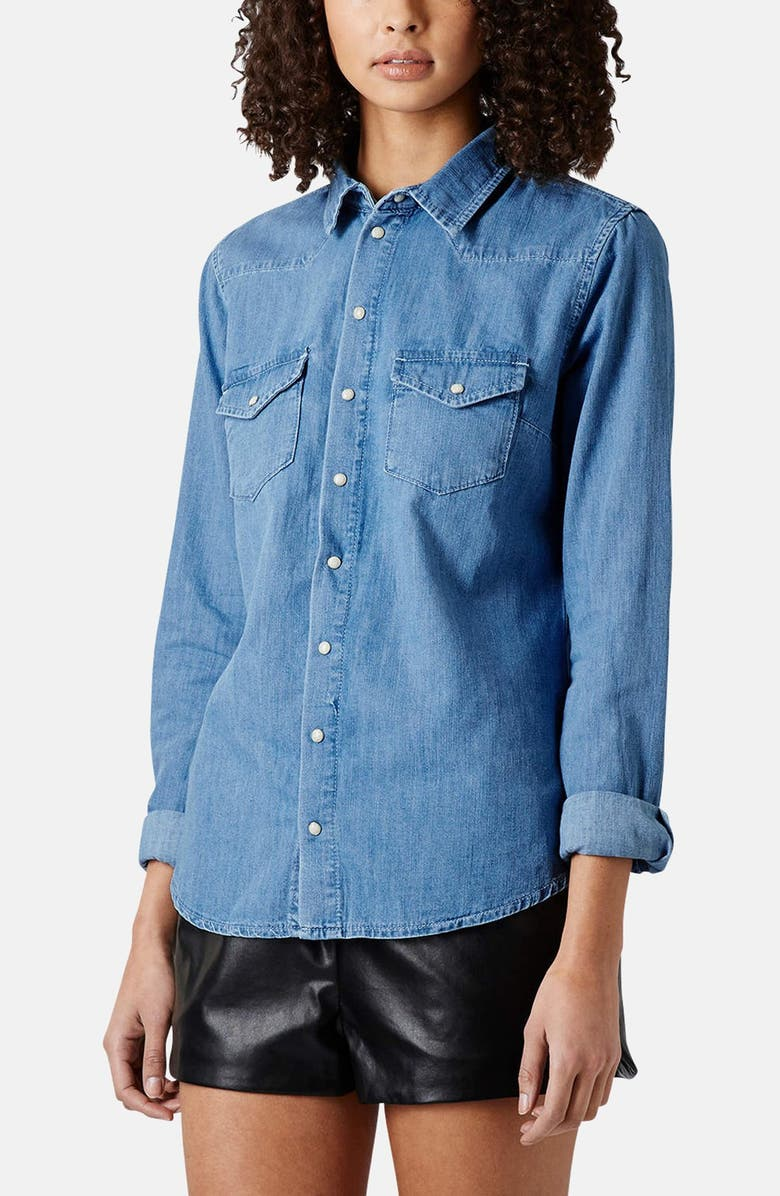 TOPSHOP Moto Fitted Western Denim Shirt, Main, color, 400