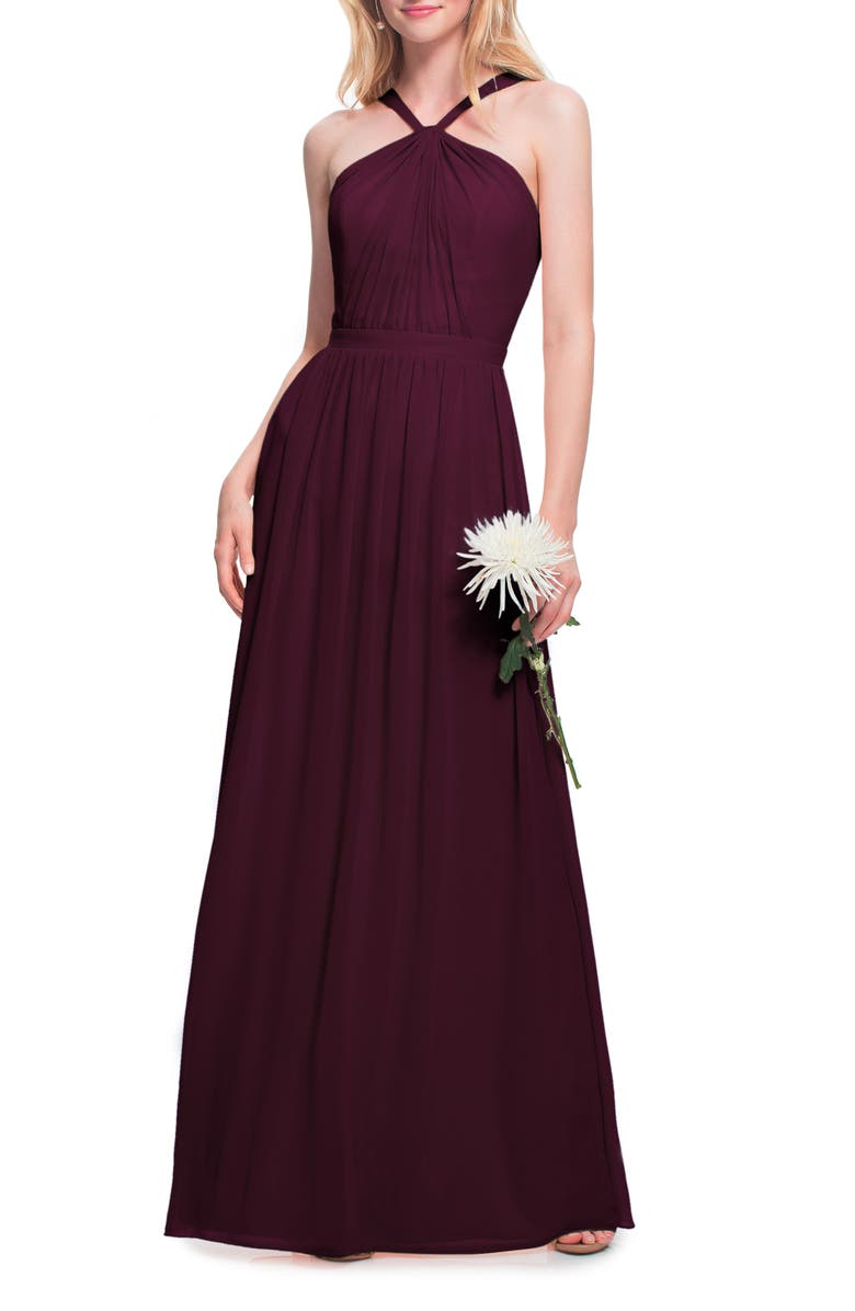 #LEVKOFF Halter Chiffon A-Line Gown, Main, color, WINE