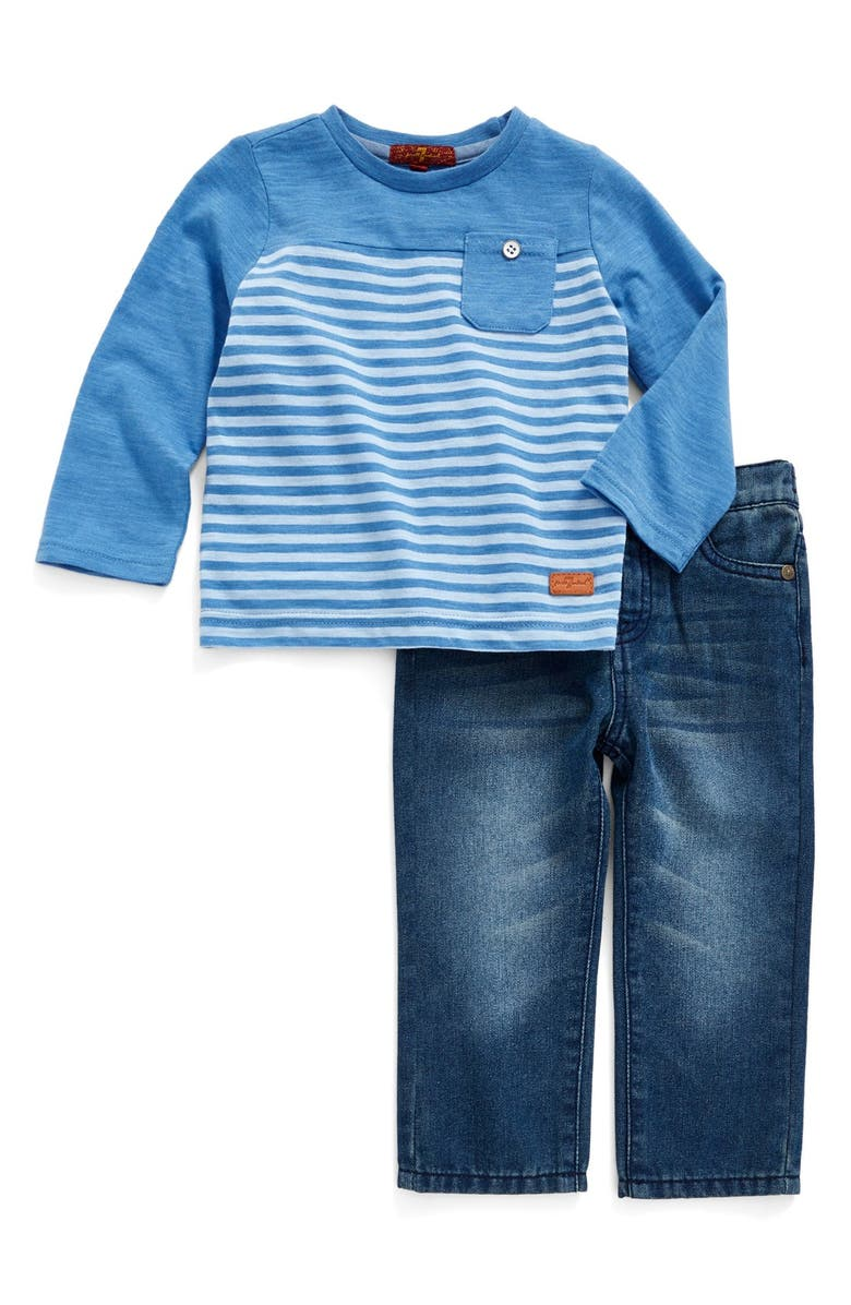 7 FOR ALL MANKIND <sup>®</sup> Stripe T-Shirt & Straight Leg Jeans Set, Main, color, RIVIERA