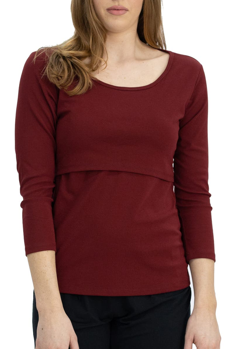 ANGEL MATERNITY Pull-Up Maternity/Nursing Top, Main, color, RED