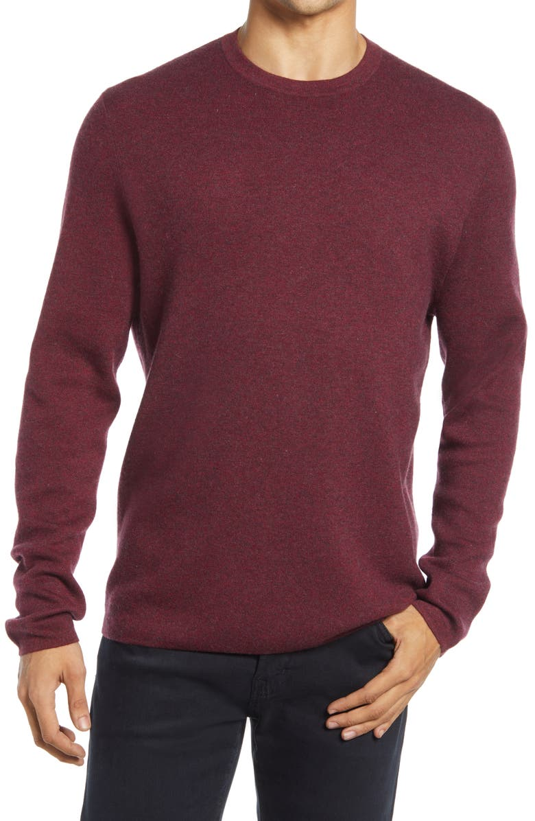 NORDSTROM SIGNATURE Crewneck Cashmere Sweater, Main, color, RED SUN MARLED