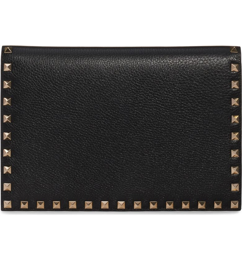 VALENTINO GARAVANI Medium Rockstud Leather Pouch, Main, color, 001