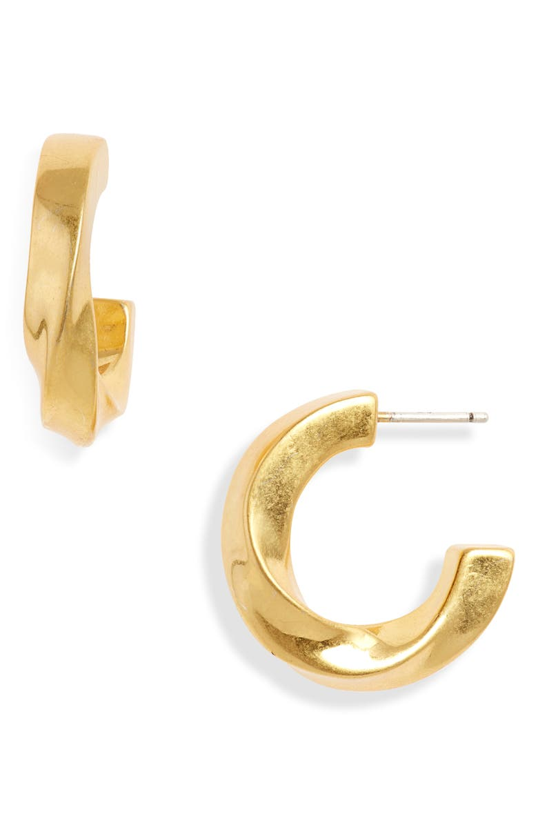 MADEWELL Archway Chunky Small Hoop Earrings, Main, color, VINTAGE GOLD