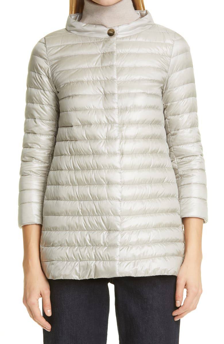HERNO Rossella Water Repellent High/Low A-Line Down Puffer Jacket, Main, color, GRIGIO PERLA